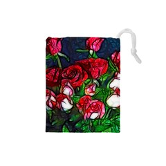 Abstract Red and White Roses Bouquet Drawstring Pouch (Small)