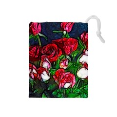 Abstract Red And White Roses Bouquet Drawstring Pouch (medium)