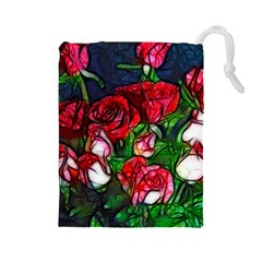 Abstract Red and White Roses Bouquet Drawstring Pouch (Large)
