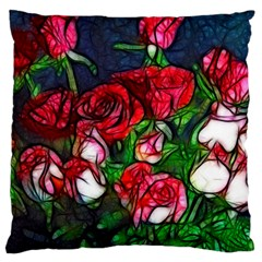 Abstract Red and White Roses Bouquet Large Flano Cushion Case (Two Sides)