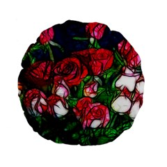 Abstract Red and White Roses Bouquet 15  Premium Flano Round Cushion