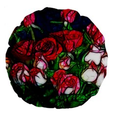 Abstract Red and White Roses Bouquet 18  Premium Flano Round Cushion