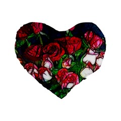 Abstract Red and White Roses Bouquet 16  Premium Flano Heart Shape Cushion