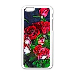 Abstract Red and White Roses Bouquet Apple iPhone 6 White Enamel Case