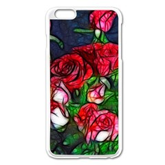 Abstract Red and White Roses Bouquet Apple iPhone 6 Plus Enamel White Case