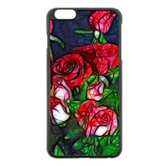 Abstract Red and White Roses Bouquet Apple iPhone 6 Plus Black Enamel Case