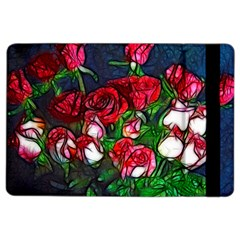 Abstract Red and White Roses Bouquet Apple iPad Air 2 Flip Case