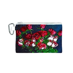 Abstract Red and White Roses Bouquet Canvas Cosmetic Bag (Small)