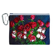 Abstract Red and White Roses Bouquet Canvas Cosmetic Bag (Large)