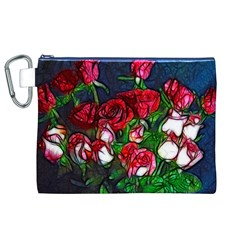 Abstract Red And White Roses Bouquet Canvas Cosmetic Bag (xl)