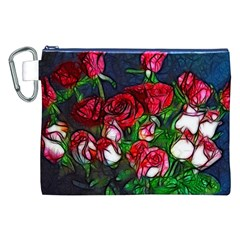 Abstract Red and White Roses Bouquet Canvas Cosmetic Bag (XXL)