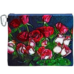 Abstract Red and White Roses Bouquet Canvas Cosmetic Bag (XXXL)