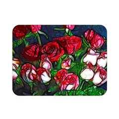 Abstract Red and White Roses Bouquet Double Sided Flano Blanket (Mini)