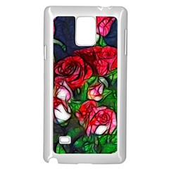 Abstract Red and White Roses Bouquet Samsung Galaxy Note 4 Case (White)