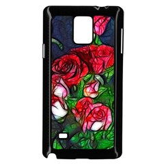 Abstract Red And White Roses Bouquet Samsung Galaxy Note 4 Case (black)