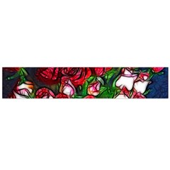 Abstract Red and White Roses Bouquet Flano Scarf (Large)