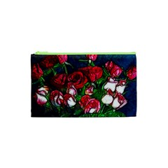 Abstract Red and White Roses Bouquet Cosmetic Bag (XS)