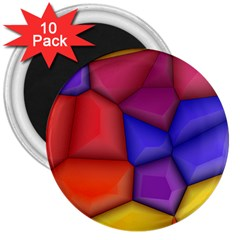 3d Colorful Shapes 3  Magnet (10 Pack)