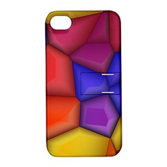 3d Colorful Shapes Apple Iphone 4/4s Hardshell Case With Stand