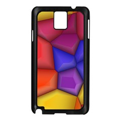 3d colorful shapes Samsung Galaxy Note 3 N9005 Case (Black)