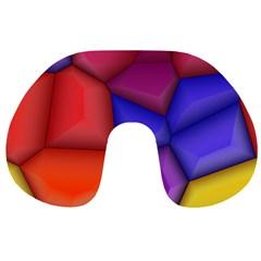 3d colorful shapes Travel Neck Pillow