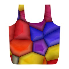 3d Colorful Shapes Full Print Recycle Bag (l)