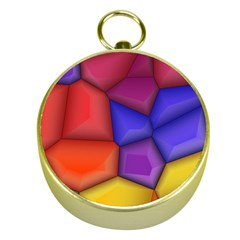 3d Colorful Shapes Gold Compass