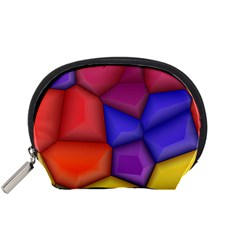 3d colorful shapes Accessory Pouch (Small)