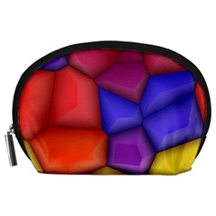 3d Colorful Shapes Accessory Pouch (large)