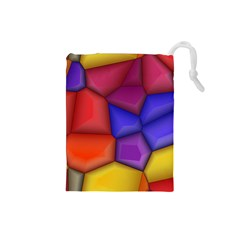 3d Colorful Shapes Drawstring Pouch (small)