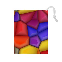 3d colorful shapes Drawstring Pouch (Large)