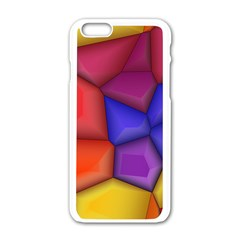 3d colorful shapes Apple iPhone 6 White Enamel Case