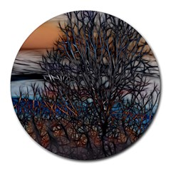 Abstract Sunset Tree 8  Mouse Pad (round)