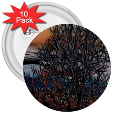 Abstract Sunset Tree 3  Button (10 Pack)