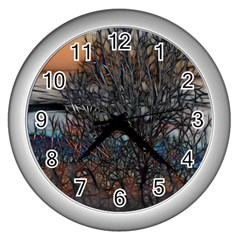 Abstract Sunset Tree Wall Clock (silver)