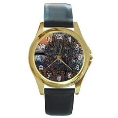 Abstract Sunset Tree Round Leather Watch (gold Rim)
