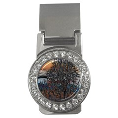 Abstract Sunset Tree Money Clip (cz)