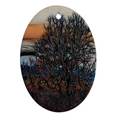 Abstract Sunset Tree Oval Ornament (two Sides)