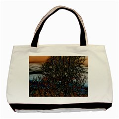 Abstract Sunset Tree Twin Sided Black Tote Bag