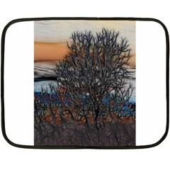 Abstract Sunset Tree Mini Fleece Blanket (two Sided)