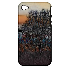 Abstract Sunset Tree Apple Iphone 4/4s Hardshell Case (pc+silicone)
