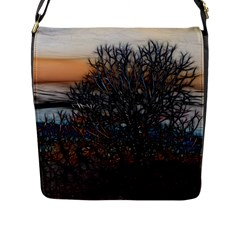 Abstract Sunset Tree Flap Closure Messenger Bag (large)
