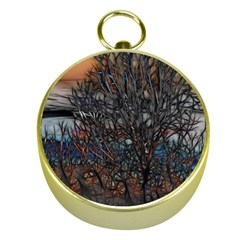 Abstract Sunset Tree Gold Compass