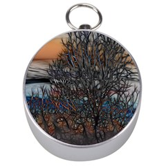 Abstract Sunset Tree Silver Compass