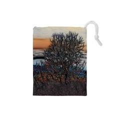Abstract Sunset Tree Drawstring Pouch (Small)