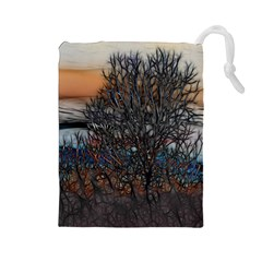 Abstract Sunset Tree Drawstring Pouch (large)
