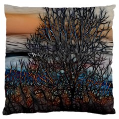 Abstract Sunset Tree Large Flano Cushion Case (Two Sides)