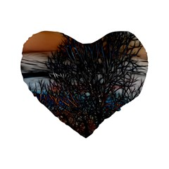 Abstract Sunset Tree 16  Premium Flano Heart Shape Cushion