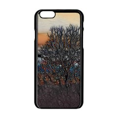 Abstract Sunset Tree Apple Iphone 6 Black Enamel Case