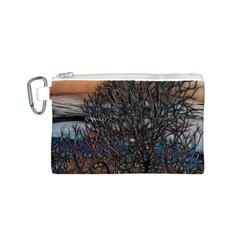 Abstract Sunset Tree Canvas Cosmetic Bag (small)